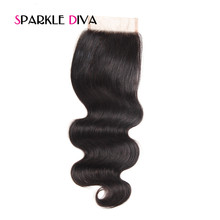 [SPARKLE DIVA HAIR] Free Part Lace Closure Body Wave With Baby Hair Remy Human Hair Natural Black Color 8-18 Inch Free Shippping