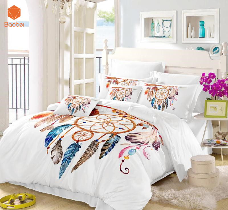 beautiful white queen size beds from us stores | 3Pcs Moon Dreamcatcher Bedding Set Queen Size Feathers ...