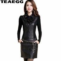 TEAEGG Black Autumn Dresses Women 2019 Pu Leather Dress Winter Long Sleeve Ladies Dresses Plus Size Feminino Pencil Dress AL471