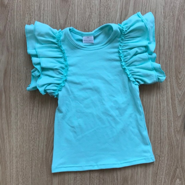 65eb4b937 2018 solid colors summer tops kids summer colors flutter sleeves girls top t  shirts wholesale