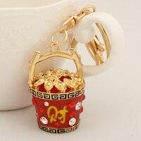 Ethnic Red Resin Fortune Basket Key Chain Ring Fashion Metal Alloy Keychain Keyring For Women Men