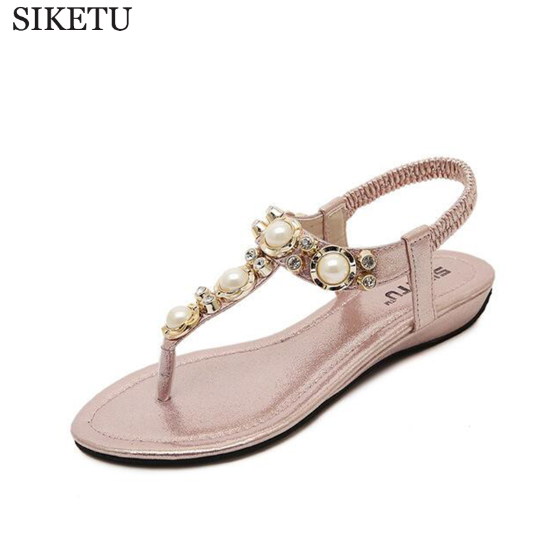 SIKETU 2017 new Korean version flip flops of the Bohemian beaded rhinestone woman sandals large size shoes sandalias mujer s154 2016 summer korean version of the large size flip flops women slippers with a simple slippery beach sandals
