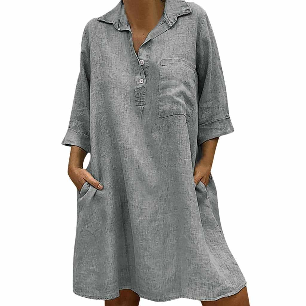Grande grande taille!! Meilleure vente 2020 femmes solide Boho col rabattu robe 3/4 manches décontracté poche bouton robe Vestido @ 6