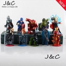 Cartoon The Avengers 2 Super Hero Hulk/ Thor /Iron Man/Black Widow 10cm Action PVC Figures Model Toys 10PCS/SET