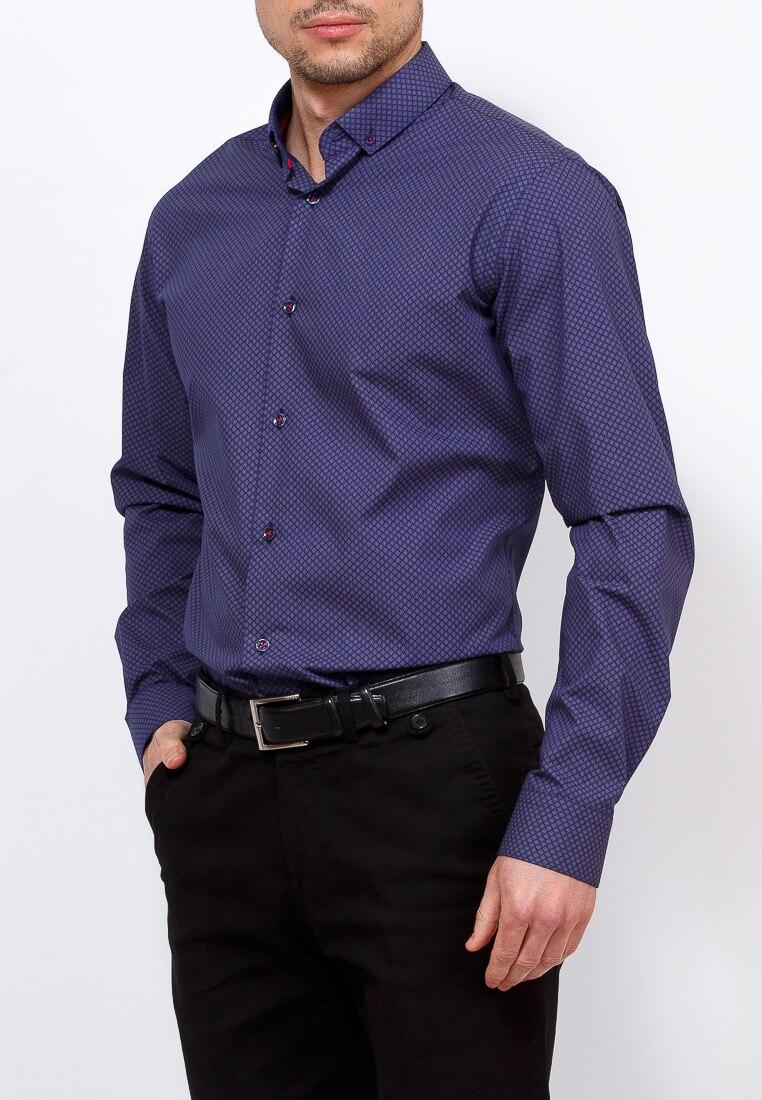 Shirt men's long sleeve GREG 253/139/883/Z/B/1 Blue plus size bird and floral print v neck long sleeve t shirt