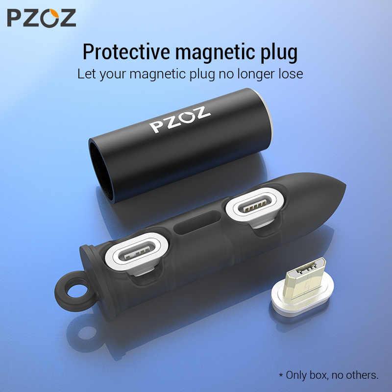 PZOZ מגנטי כבל תקע תיבת סוג C מיקרו USB C 8 פין מהיר טעינת מתאם טלפון Microusb סוג-C מגנט מטען כבל תקעים