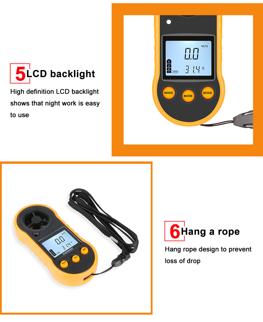 Portable RZ GM816 Wind Speed Meter Used as Anemometer with LCD Display Useful for Windsurfing 10