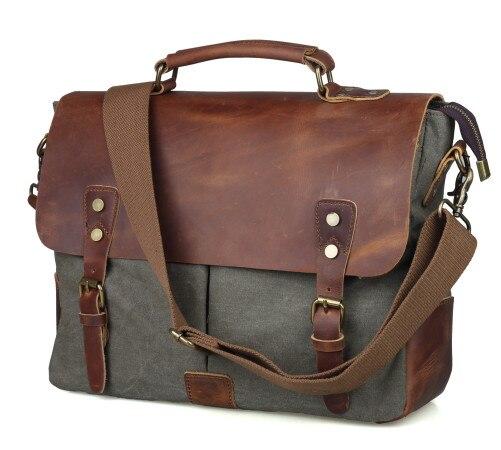 Винтаж повседневная мужская портативный портфель холст почтальон сумка с Crazy Horse кожа 14 дюймов ноутбук Crossbody мешок