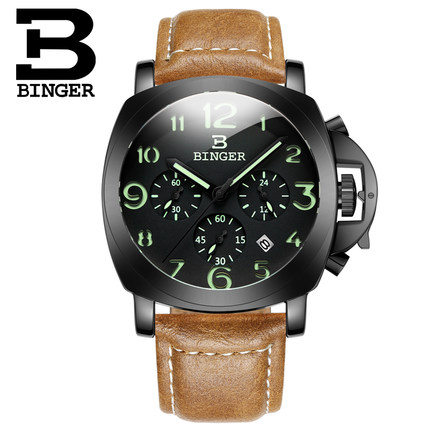 2017 new Binger men Switzerland leather strap Quartz watch casual fashion wristwatch calendar man business relogio reloj watches 2017 new full steel automatic watch binger casual fashion wristwatch with gold calendar man business hours clock relogio reloj
