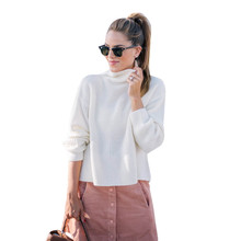 Turtleneck Plus Size pullover Autumn winter 2017 warm knitting Pullovers Womens Casual Solid Long Sleeve Jumper Tops Blouse