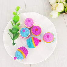 2Pcs Stationery Supplies Kawaii Cartoon Pencil Erasers cute Cake office Correction Kid learning Gifts