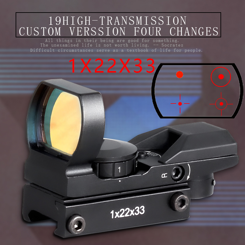 Hot New Quality 20mm Rail Riflescope Hunting Optics Holographic Red Dot Sight Reflex 4 Reticle Tactical Scope Collimator Sight