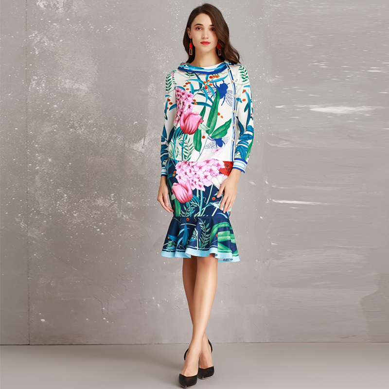High end New 2019 Spring Summer Runway Designer Print Long Sleeve Large Collar Blouse + Mermaid Skirt Suits Women Twinsets-in Women's Sets from Women's Clothing    3