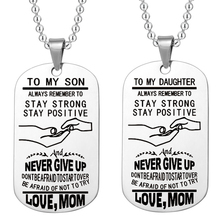 To My Son Always Remember To... Start Over Be Afraid Not Try Love Mom Stainless Steel Dog Tag Necklace Birthday Gift