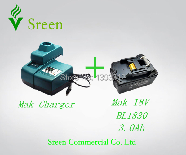 Sreen Universal Li-ion NI-CD NI-MH Power Tool Battery Charger 3000mAh BL1830 Rechargeable Battery Replacement for Makita 18V LXT power tool rechargeable battery charger for makita dc18rc li ion battery rapid 9a charger bl1415 bl1430 bl1815 bl1830