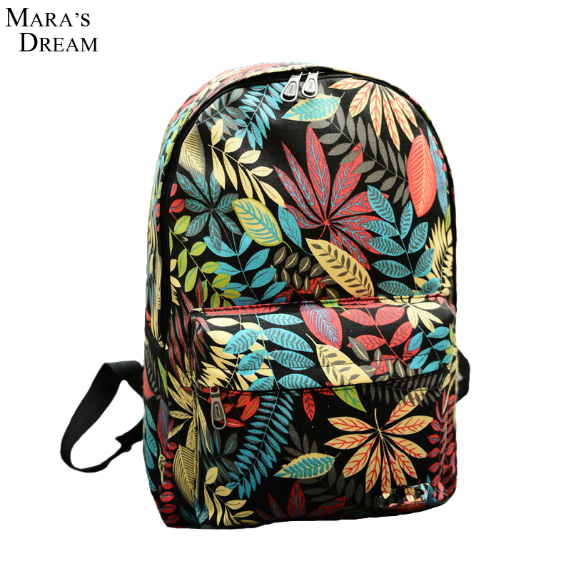 2018 New Women Backpacks Printing Leaves Backpack Mochila Rucksack Fashion Canvas Bags Retro Casual School Bag Travel Bags 2017 new women printing backpack canvas school bags for teenagers shoulder bag travel bagpack rucksack bolsas mochilas femininas