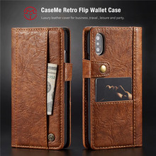 Business Genuine Leather Brand Case Voor iphone XS Max XR Wallet Flip X 6 7 8 Plus Cover Coque With Card Slots