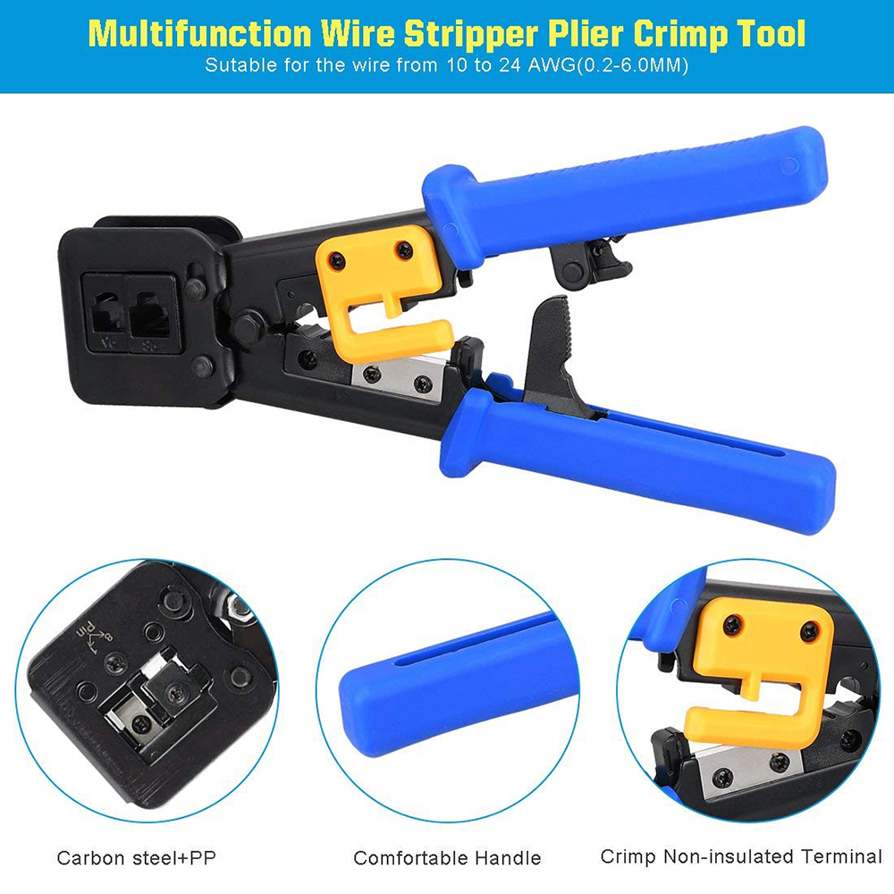 Image 3 - ez rj45 tool crimper hand network Stripping tool plier for ez rj45 rj11 cat6 cat5 8p8c multi Cable crimping Stripper-in Networking Tools from Computer & Office