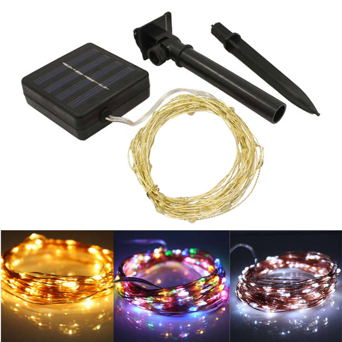 Jiawen 100 LED Solar String Lights, 33Ft (10M) Copper Wire Lights, Christmas Party Strin ...