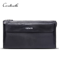 CONTACT S Fashion Genuine Leather Men Handbags RFID High Quality Day Clutches Famous Brand Hand Bags