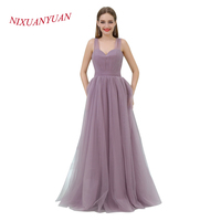 NIXUANYUAN 2017 Custom Made Simple Pleat Tulle Evening Dress 2017 Sweetheart A Line Formal Gowns Cheap