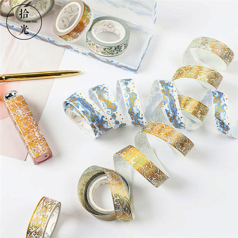 Gold Foil DIY Craft Glitter Paper Adhesive Stickers Chinese Pattern Washi Tape Adhesive Tape Wedding Party Christmas Tree Decors