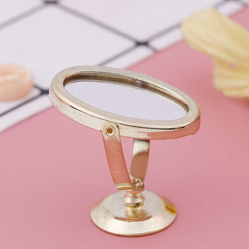 1/12 Escala Bonecas Mobília Do Banheiro Acessórios de Casa de Boneca de Brinquedo Em Miniatura de Metal Gloden Vaidade Do Vintage Espelho Mini