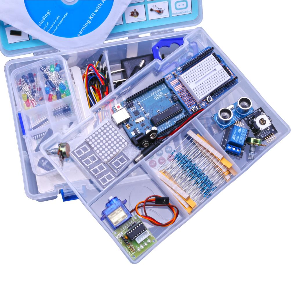 Robotlinking Модернизированный Расширенный версия Starter DIY Kit узнать Люкс комплект ЖК-дисплей 1602 для UNO R3 с CD учебник ЕС/США Plug
