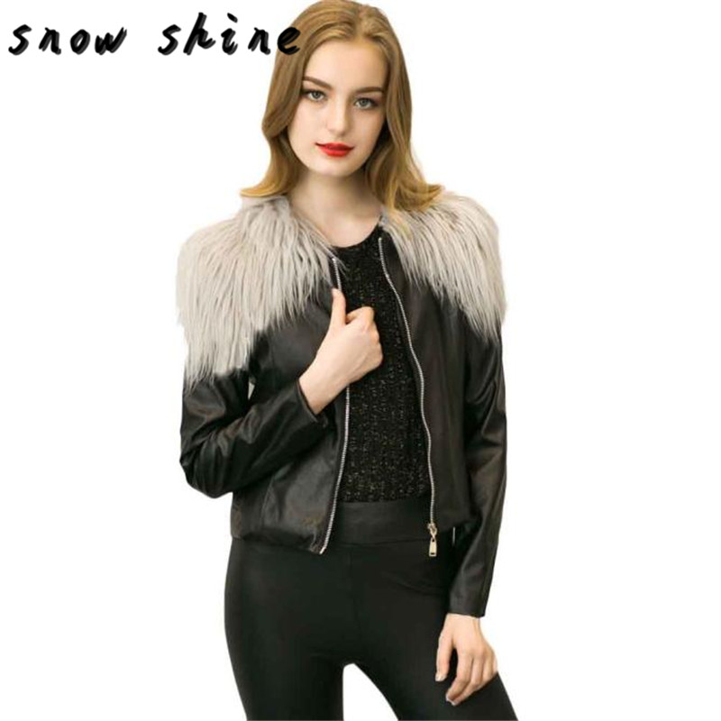 snowsong #5003 Womens Sexy Slim Biker Motorcycle Leather Jacket Zipper Short Coat free shipping