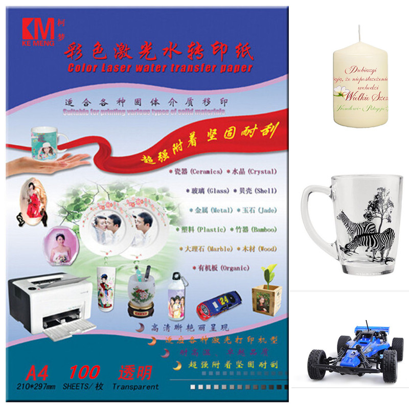 Laser Water Slide Decal Paper No Need coating oil/spray Transparent Color A4size Waterslide Decal Transfer Paper For Candle cups