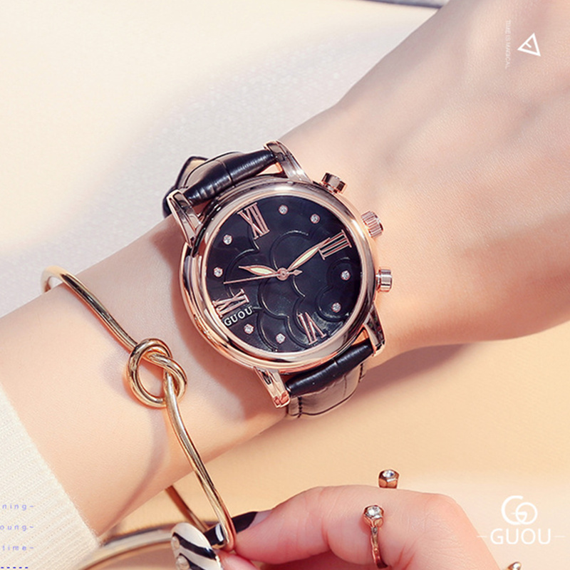 GUOU Luxury Crystal Watch Women Watches Roman Numerals Women's Watches Leather Clock saat montre relogio feminino reloj mujer excellent quality geneva watch women watches reloj mujer dropship 2017 casual roman numerals pu leather mechanical clock luxury