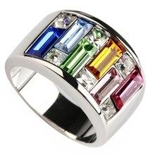 SHUNXUNZE обручальные кольца для женщин синий зеленый розовый красный оранжевый фианит с родиевым покрытием R405 Размеры 6 7 8 9 10 11 12