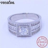 Vecalon Для мужчин ювелирные изделия из натуральной 100% Soild 925 пробы Серебряное кольцо 1ct 5A Циркон cz Обручение обручальное кольцо для Для мужчин о
