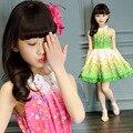 Idade 4-14Y 2016 verão novas meninas vestido floral impressão roupas para crianças Coreano crianças vestidos de praia vestido adolescente grande