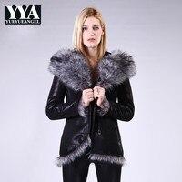 2019 зимнее Новое Брендовое пальто из искусственного меха для женщин тонкий фитнес теплый меховой капюшон, воротник длинные пальто уличная ж