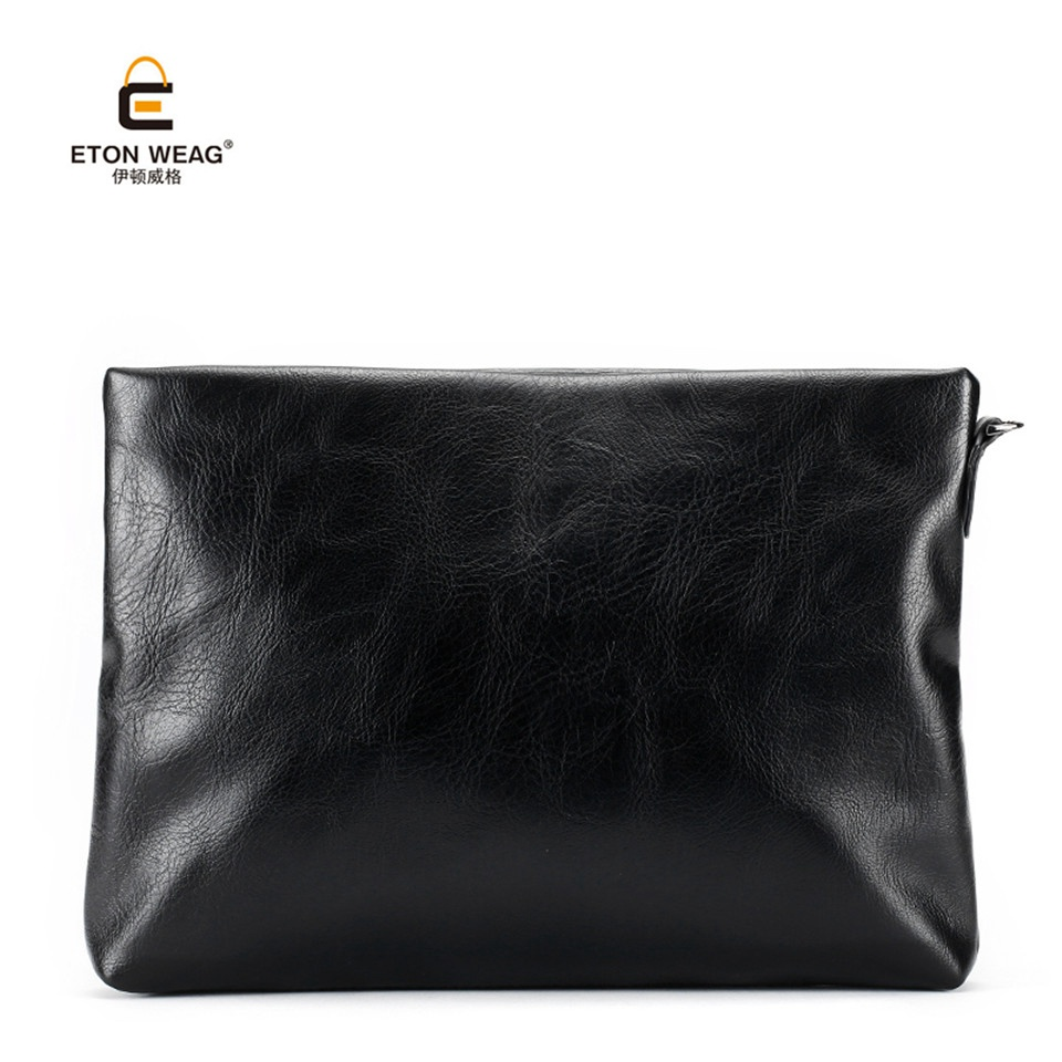 ETONWEAG Brand Soft Split Leather Men Clutch Bags Large Capacity File Bags Men Wallets Envelope Wristlet Fashion Evening Bags brand double zipper genuine leather men wallets with phone bag vintage long clutch male purses large capacity new men s wallets
