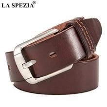 LA SPEZIA Handmade Leather Belts Men Vintage Coffee Pin Buckle Belt Male Italy Genuine Cowhide Classic Accessories