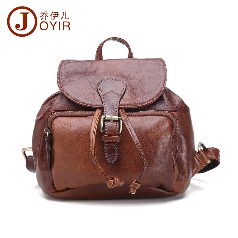 ФОТО JOYIR 2017 Genuine Leather Vintage Women Small Backpack High Quality Cowhide Women Shoulder Bag Travel Backpack School Bag 8027