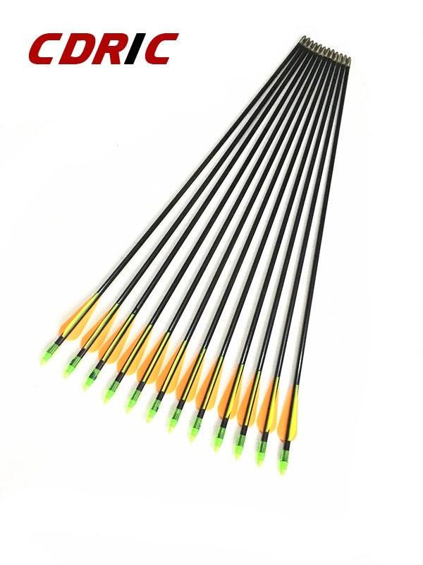 Setas de Fibra de Vidro com Ponta Bala para Arco Tiro com Arco Comprimento 80cm Seta Recurvo Caça 6 – 12 24 Pçs