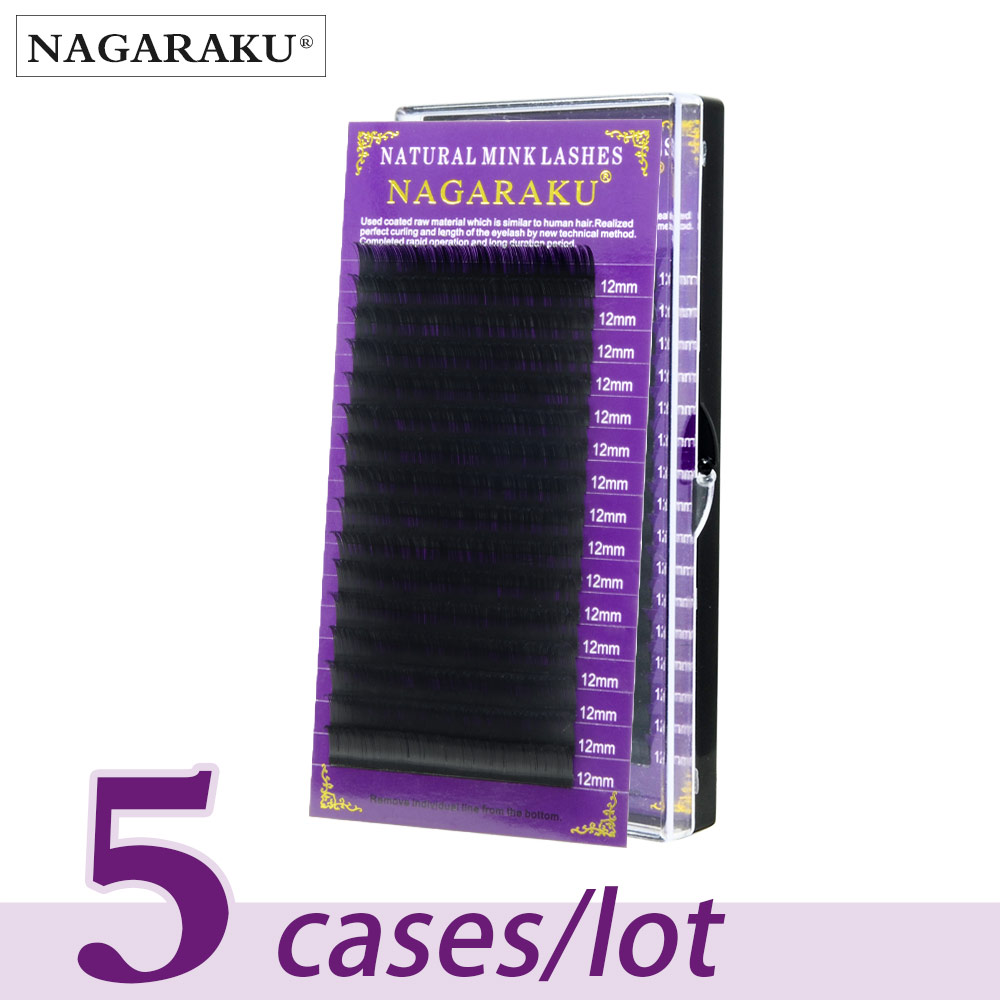 NAGARAKU 5 cases/lot High quality mink eyelash extension individual eyelashes natural eyelashes make up maquiagem cilios