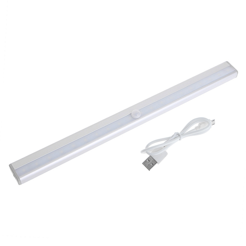 USB 20 LED Rechargeable Automatic Under Cabinet Light PIR Motion Sensor Lamp