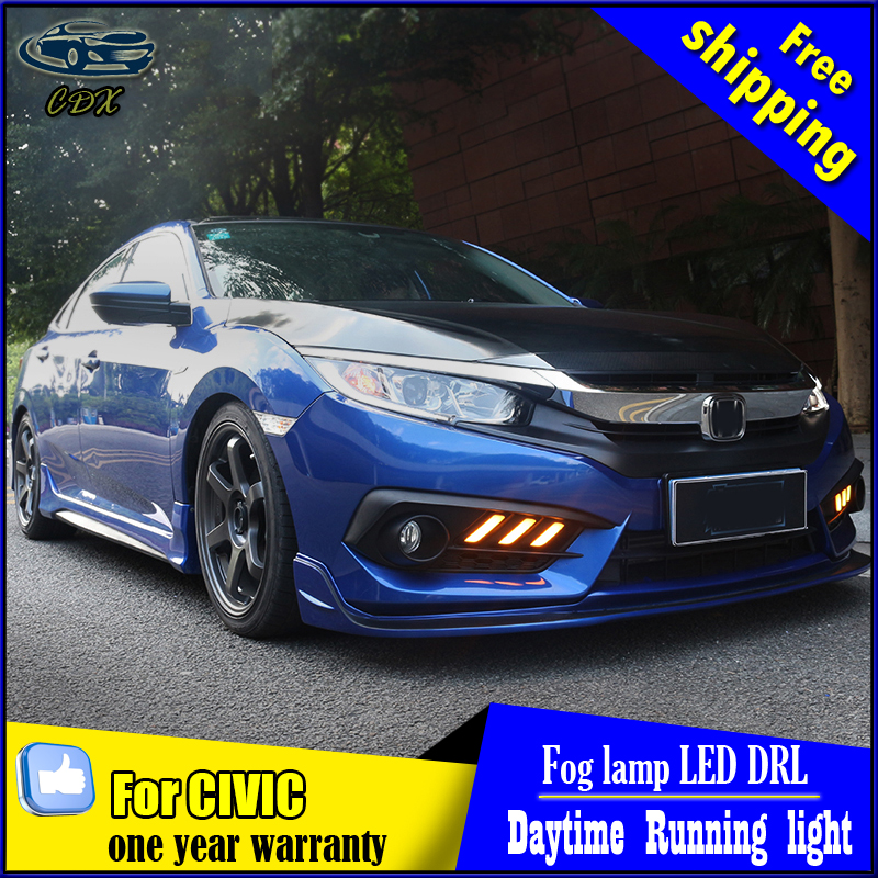 Car styling For Honda Civic 2016 LED DRL turn signal yellow led daytime running lights High brightness guide DRL mustang style