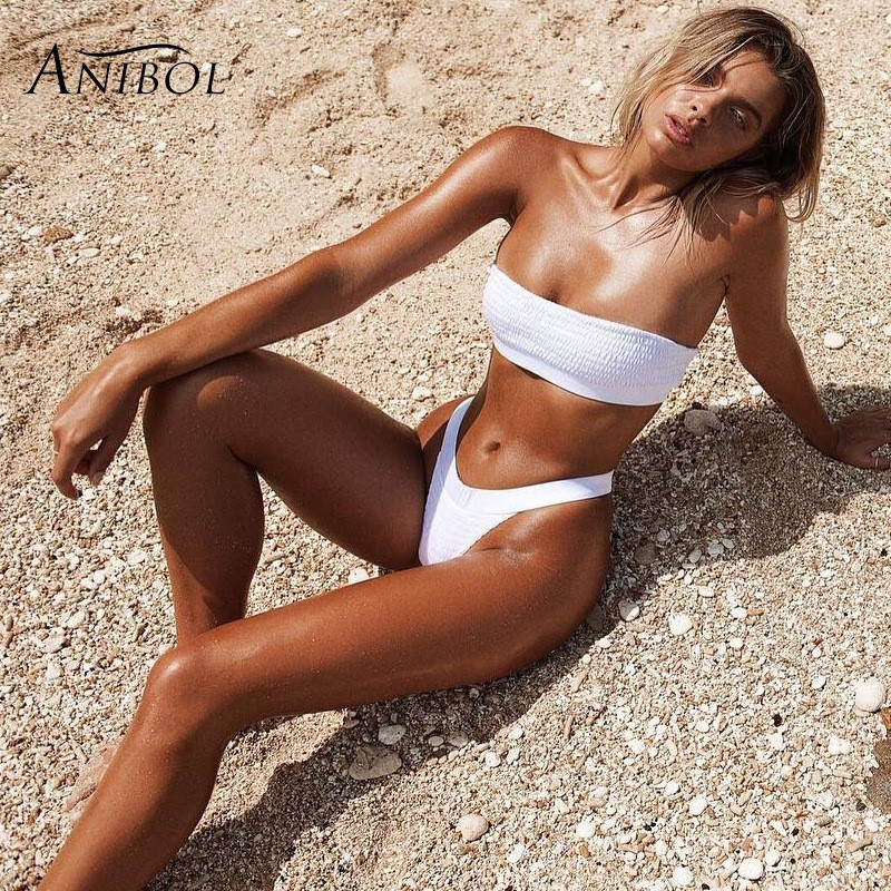 Anibol <font><b>Sexy</b></font> Brazilian Thong <font><b>Bikini</b></font> Broadside Strapless <font><b>Women</b></font> Swimsuit <font><b>Bikini</b></font> <font><b>Set</b></font> <font><b>2018</b></font> Hot Selling Seersucke Girls <font><b>Swimwear</b></font> image