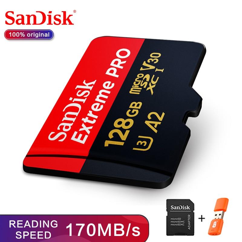 SanDisk Extreme Pro TF 64GB 128GB microSDXC UHS-I tarjeta de memoria tarjeta micro SD 32GB microSDHC TF 170 MB/S Class10 U3 con Adaptador SD