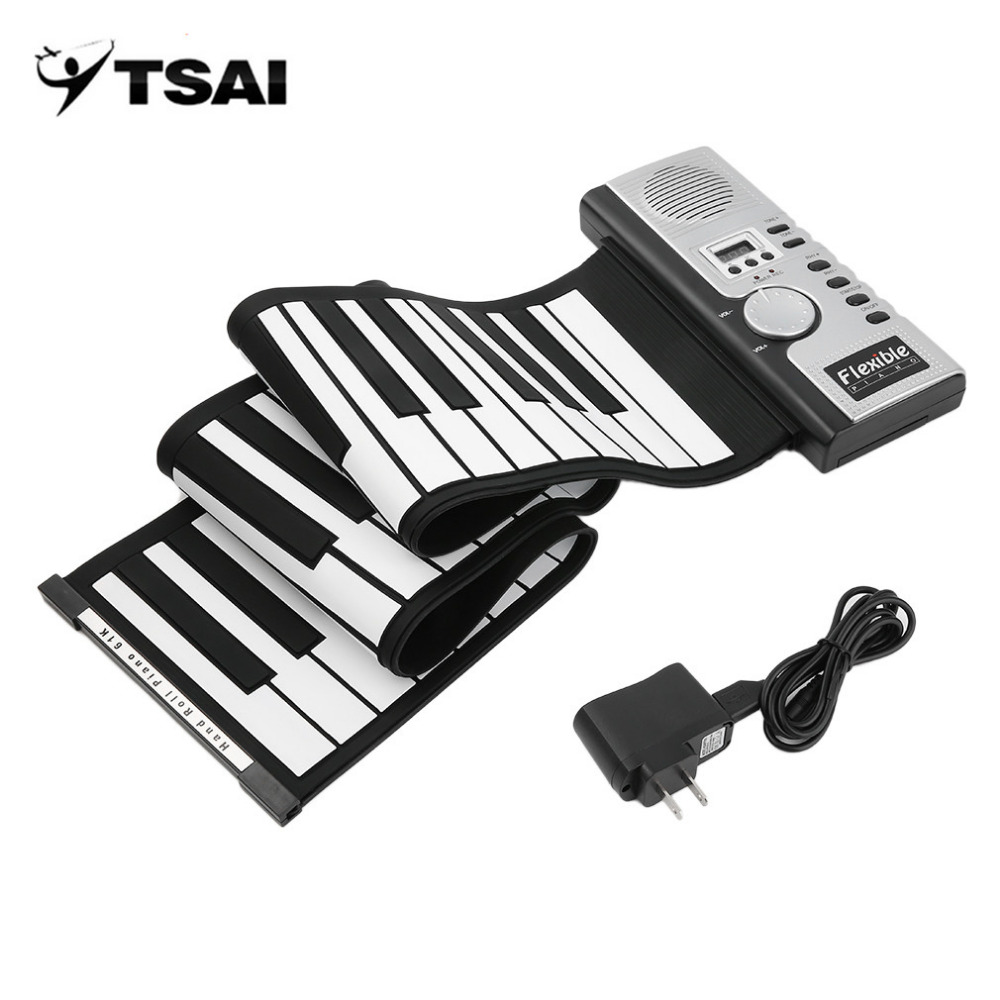 TSAI Piano Electronic Black and White 61 Keys Universal Flexible Roll Up Soft Keyboard Piano for guitarra players popular new flexible 88 keys roll up piano keyboard for kids and promotion
