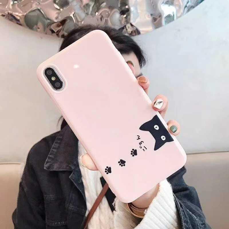 Nuevo Japón Cute cat Phone Case para iphone XS MAX XR X 6S 7 8 Plus funda trasera Ultra delgada de dibujos animados de silicona suave