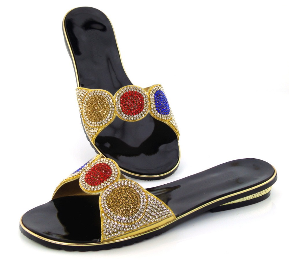 ff51646b1bbbe Doershow جديد وصول الأفريقية نمط صندل امرأة أحذية مريحة الكريستال كعب مضخات  الشحن مجانا!!
