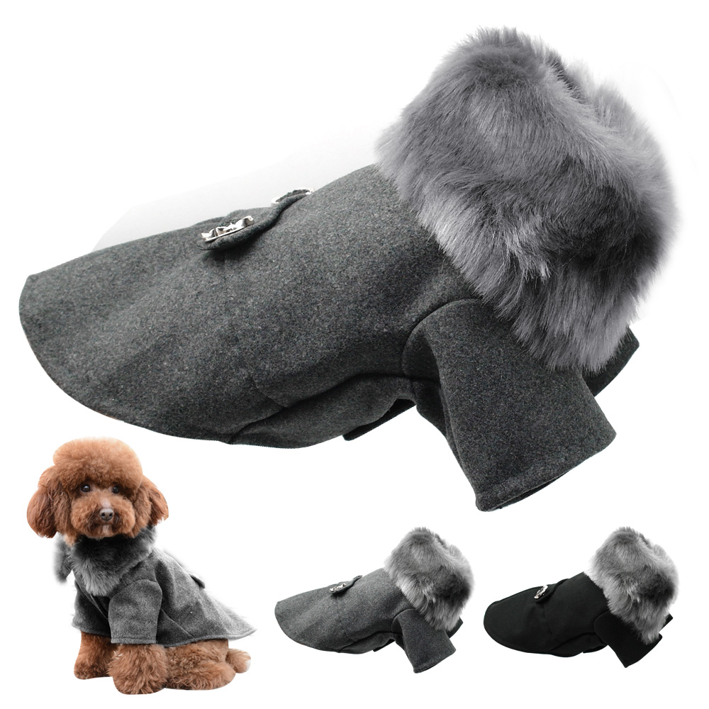 Winter Dog Woolen Clothes With Fur Collar Puppy Yorkies Dogs Jacket Coat Clothing For Small Medium Pet Chihuahua Size S-XXL