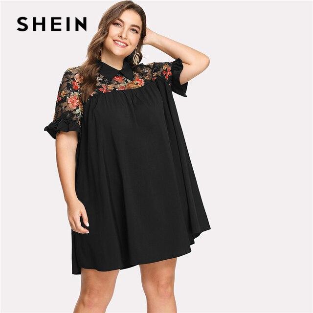 37493fb12f33 SHEIN Floral Lace Shoulder Swing Dress 2018 Summer Short Sleeve Collar Neck Print  Dress Women Plus Size Straight Beach Dress