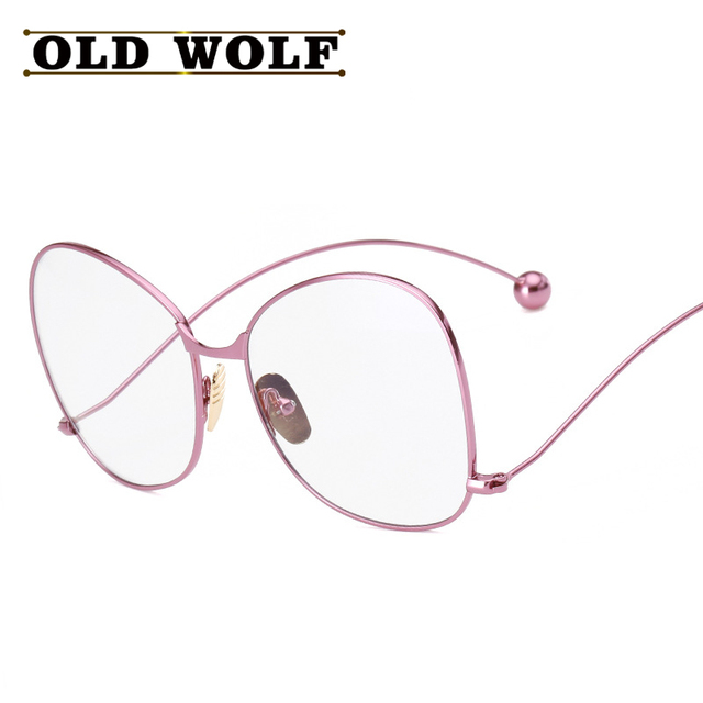 9641ee886c2 OLDWOLF Fashion Women Titanium Glasses Frames Brand Eyewear Gold Pink Cat  Eye Butterfly Art Mirror Feet Frame With Glasses SG096